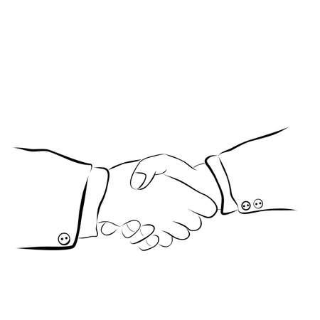 Vector Hand Draw Sketch, 2 man Handshaking Banco de Imagens