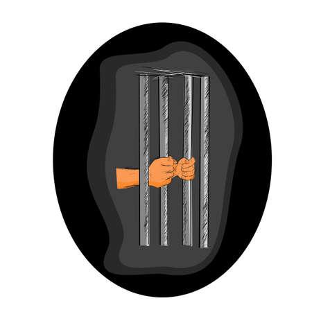 Vector Hand Draw Sketch Flat Color, Ilustration for prisoner Inside the jail  스톡 콘텐츠