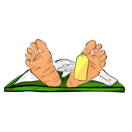 Simple Conceptual Illustration for accident or crime vitcim, hand draw sketch of Dead Body Archivio Fotografico - 131392614