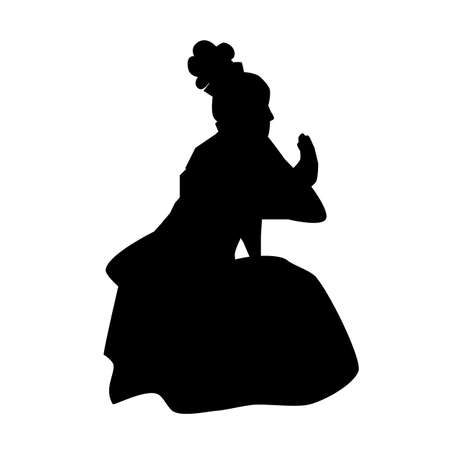 Vector Silhouette of Young Girl Traditional West Java, Sunda  Indonesia