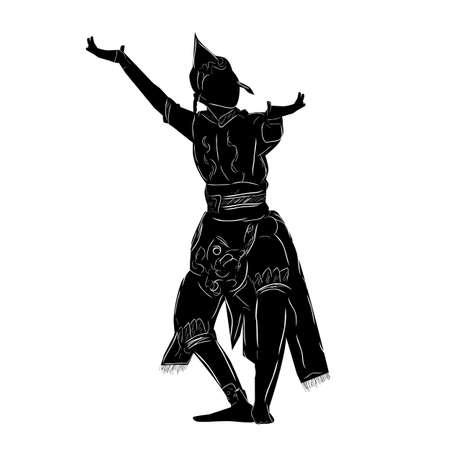 Wektor ręcznie rysować szkic i sylwetka młodej dziewczyny, taniec Garuda z Indonezji