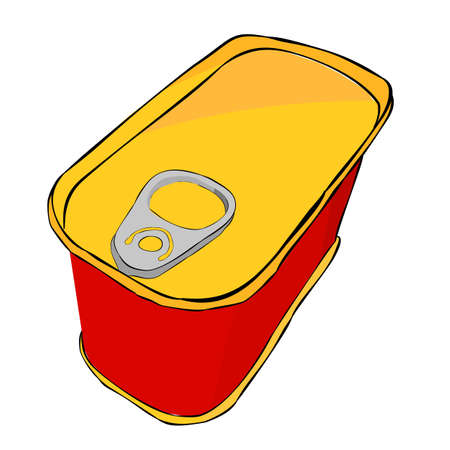 Vector Low Angle Perspective Rectangle Can Red Yellow and Gray hand draw sketch of top view closed corned beef can, isolated on white  Reklamní fotografie