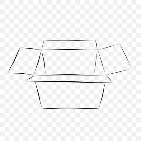 Hand Draw Skecth Vector Mockup Black outline cardboard, at transparent effect background