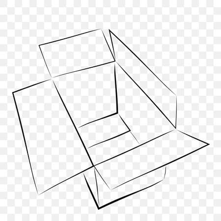 Hand Draw Sketch Vector Mockup Black outline cardboard, at transparent effect background
