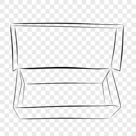 Hand Draw Sketch Template Vector Mockup Black Shoe Box, at Transparent Effect Background  Imagens