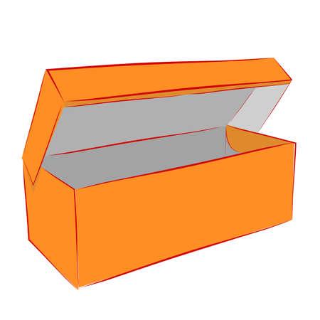 Hand Draw Sketch Vector Mockup Orange Shoe Box, Isolated on white  Imagens
