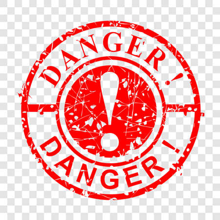 Vector Grunge Circle Red Rubber Stamp, Danger at transparent effect background