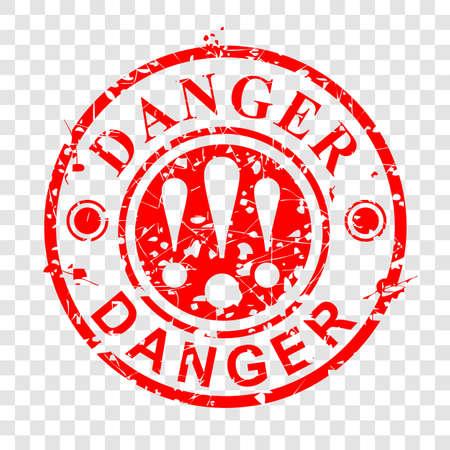Grunge Circle Red Rubber Stamp, Danger at transparent effect background