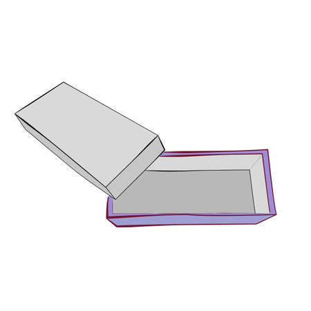 Hand Draw Sketch Vector Template or mockup Purple Shoe Box, Isolated on white
