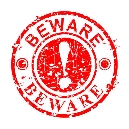 Vector Grunge Circle Red Rubber Stamp, Beware, isolated on white