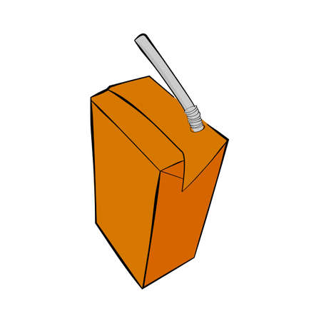 Vector Small Chocolate UHT Milk with plastic straw at transparent effect background