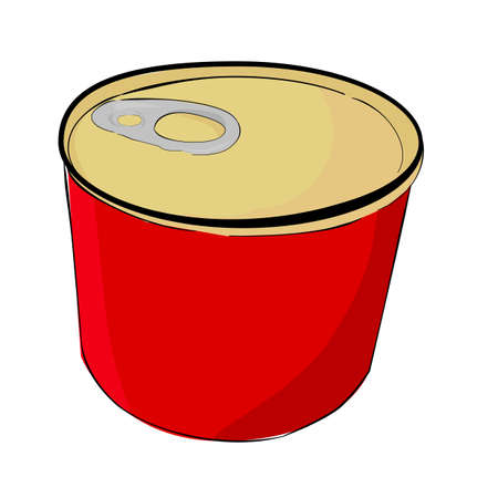 Vector, hand draw sketch of Blank Cylinder corned beef can, isolated on white