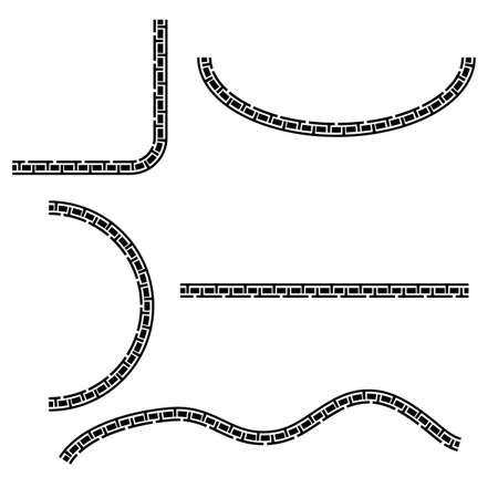 Vector Black Half of Square, oval, square and wave corner element design, china style  Zdjęcie Seryjne