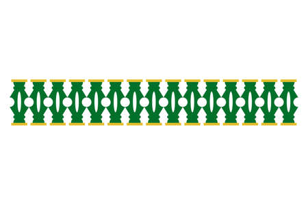 Vector Green and Yellow Gate Decoration Traditional House of Betawi Old Jakarta, Indonesia