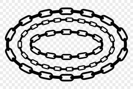 Vector Oval Frame from Black Chain for Your Element Design at Transparent Effect Background Foto de archivo