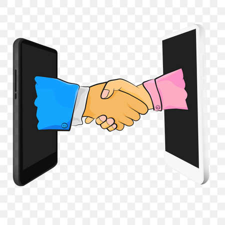 Vector illustration legal Online business agreement thru Smartphone at Transparent Effect Background