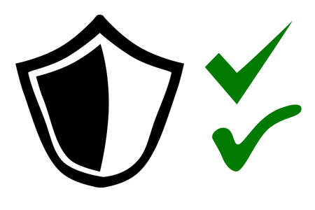 Shield or protection true and false symbol, Simple Vector Doodle hand draw sketch