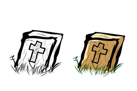 Vector Doodle Hand Draw Sketch, Christian Wooden Grave and grass, Isolated on White