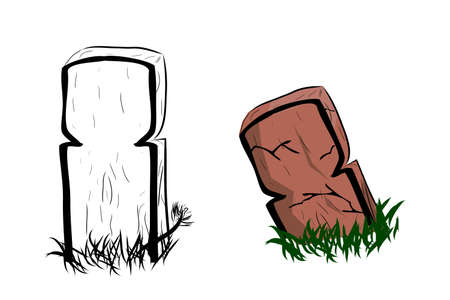 Vector Doodle Hand Draw Sketch, Islma Wooden Grave and grass, Isolated on White