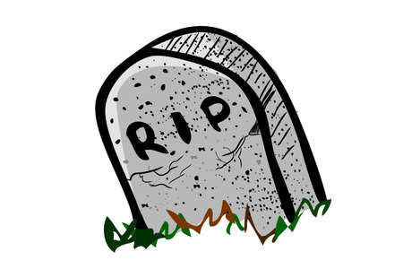Vector Doodle Hand Draw Sketch, Christian Stone Grave and grass, Isolated on White