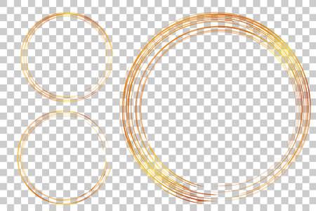 3 Hand Draw Sketch Golden Circle Frame from Multiple Black thic market for your element design, transparent Effect Background Ilustración de vector