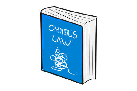 Illustration for Complitcated Omnibus Law, Blue Hand Draw Sketch Bigbook, at with background