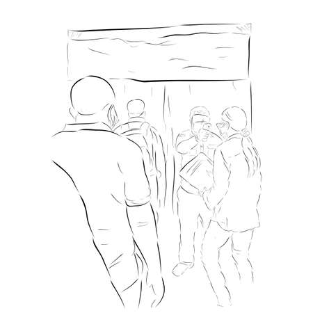 Vector Hand Draw Sketch, Queues People, Body Temperature Check Before Entering Desinfectant Chamber, health protocols during a pandemic