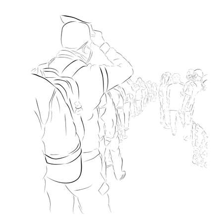 Vector Hand Draw Sketch, Queues that violate health protocols during a pandemic