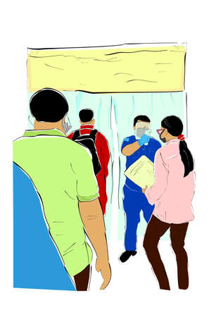 Vector Hand Draw Sketch, Queues People, Body Temperature Check Before Entering Desinfectant Chamber, health protocols during a pandemic Covid-19 Vettoriali