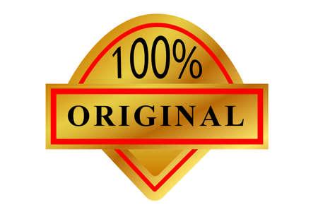 Gradient Red and Golden Badge or 100% Original Vetores