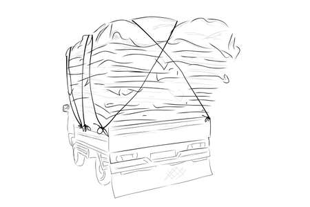 Vector Hand Draw Sketch, Over Load or Used Cardboard Pickup Car  Vectores