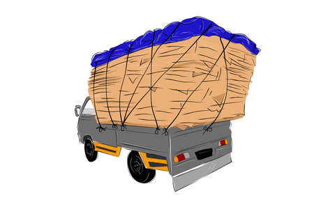 Simple Vector Hand Draw Sketch, Over Load or Used Cardboard Pickup Car