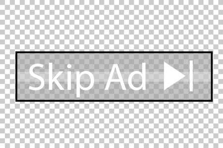 Vector Button, Skip Ad, At Transparent Effect Background