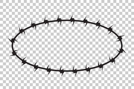 Vector Frame Silhouette Barbed Wire, Oval Shape