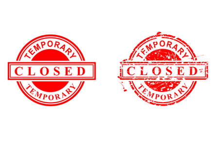 Vector, Clean and Rust Red Rubber Stamp, Temporary Closed, Isolated on White