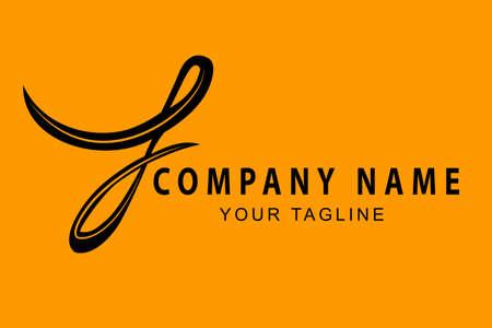 Vector Hand Draw Sketch Black Logo Script F, For Classic Elegance Corporate, at Orange Background