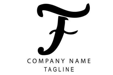 Vector Hand Draw Sketch Black Logo Script F, For Classic Elegance Corporate, at White Background