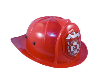 Red fireman helmet isolated on white background Stock Photo