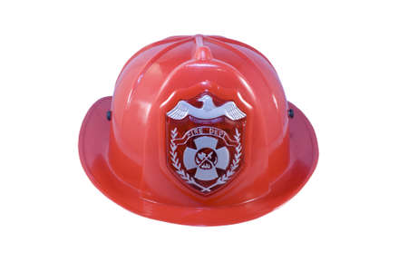 fireman helmet: Red fireman helmet isolated on white background Stock Photo