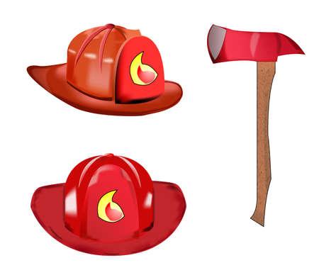 fireman helmet and axe Vector