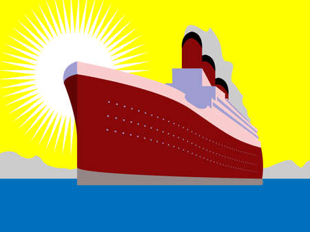 ocean liner: Illustration of huge ship on ocean