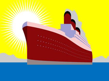 luxury travel: Ilustraci�n de enorme buque Oc�ano Vectores