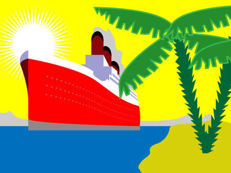 ferry boat: Illustration of huge ship on ocean with palm trees Illustration