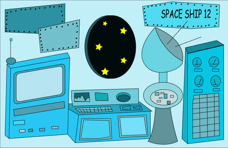 illustration of interior of a space ship Vector