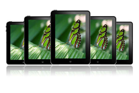 Row of tablet pc's with a butterfly