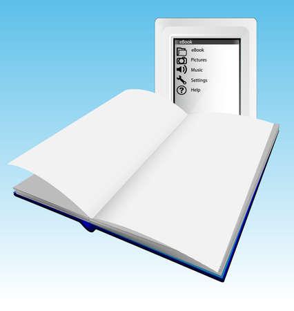 Ereader or ebook versus paper book Stock Vector - 8677853