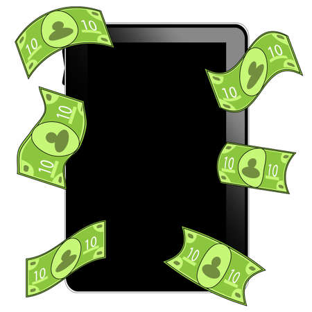 Black tablet pc with money bills Illustration