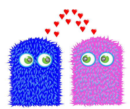 Sweet little monsters in love Stock Vector - 8677855