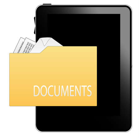 Black tablet pc with documents icon Stock Vector - 8738604