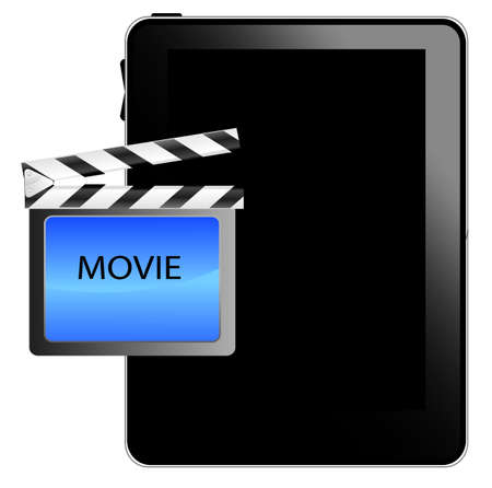 Black tablet pc with movie icon Stock Vector - 8738603